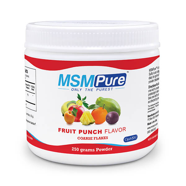 250 gram container of MSM Pure Fruit Punch flavor Coarse MSM Flakes