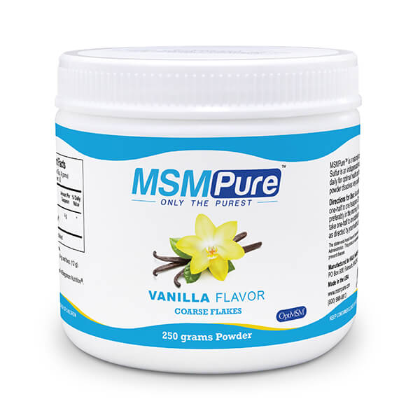 250 gram container of MSM Pure Vanilla flavor Coarse MSM Flakes